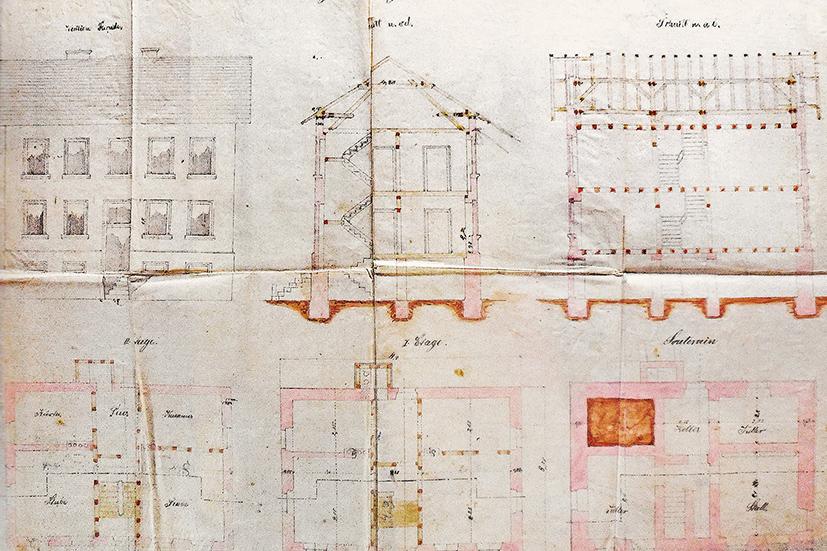 Bauzeichnungen für das als Jägerhaus bezeichnete Direktorenhaus. Um 1870. Werksarchiv Main-Kinzig-Kreis